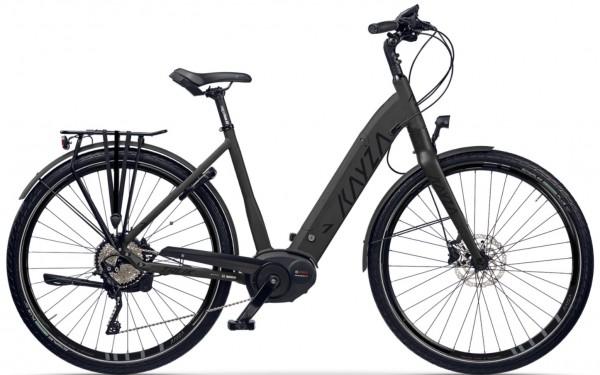 "KAYZA Elektro-Trekkingrad ""Tanana Dry 7"" Mod. 21, Wave, 28"", deep black matt / black glossy, 5-Gang SHIMANO ""Nexus Inter E"", 45cm"