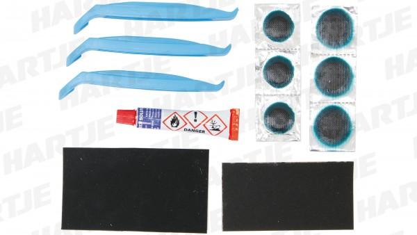 """CONTEC Flickzeug """"Safety Kit""""; 6x Flicken, Reparaturplatte, Vulkanisierflüssigkeit, Reifenheber, Sandpapier, SB-verpackt"""
