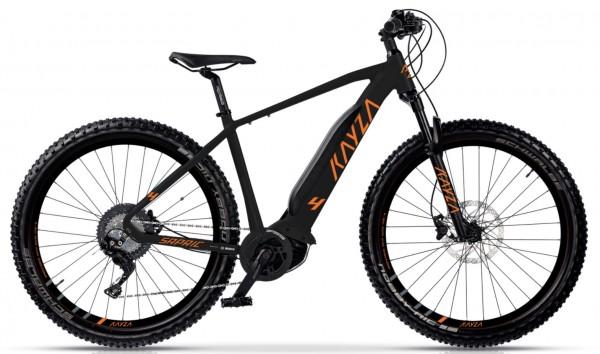 "KAYZA Elektro-MTB Hardtail ""Sapric 4"" Mod. 21, Hardtail, 29"", black matt / orange matt, 9-Gang SHIMANO ""Altus"", 44cm"