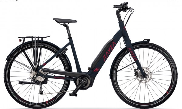 "KAYZA Elektro-Trekkingrad ""Tanana Dry 6"" Mod. 21, Wave, 28"", slate matt / rubin red matt, 10-Gang SHIMANO ""Alivio"", 55cm"