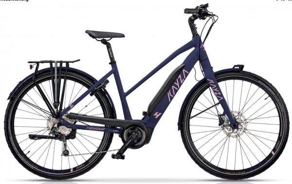 "KAYZA Elektro-Trekkingrad ""Tanana Dry 4"" Mod. 21, Trapez, 28"", purple matt / salamon matt, 9-Gang SHIMANO ""Alivio"", 44cm"