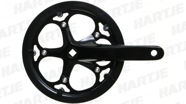 TERN Kettenradgarnitur; 52 Zähne, 170mm Kurbellänge, Aluminium poliert, mit Kettenschutzring, passend für Verge N8, schwarz