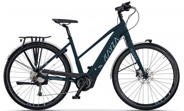 "KAYZA Elektro-Trekkingrad ""Tanana Dry 8"" Mod. 21, Trapez, 28"", teal blue matt / smoke gray matt, 11-Gang SHIMANO ""Deore"", 55cm"