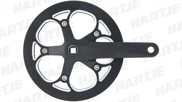 """TERN Kettenradgarnitur """"Ounce""""; 53 Z., Aluminium, 170mm Kurbellänge; Schwarz matt, mit Kettenschutzring, passend für Verge D9"""