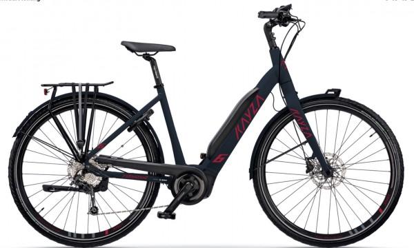 "KAYZA Elektro-Trekkingrad ""Tanana Dry 6"" Mod. 21, Wave, 28"", slate matt / rubin red matt, 10-Gang SHIMANO ""Alivio"", 45cm"