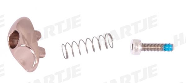 TERN Sicherungskit; 3-teilig für Verschluss, OCL Rahmen, gold, bestehend aus Knopf, Schraube, Feder
