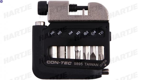 """CONTEC Multifunktionswerkzeug """"Pocket Gadget - PG1""""; SB-verpackt, sehr flaches und kompaktes Design, 102,5g; 8 Funktionen:; - 3/4/5/6mm Innensechskant"""