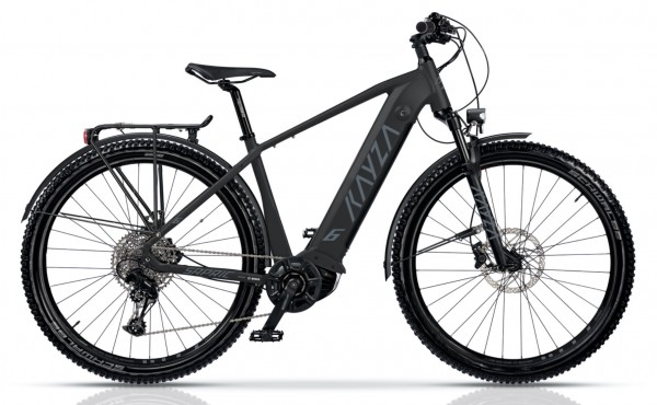 "KAYZA Elektro-MTB StVZO ""Sapric Dry 6"" Mod. 21, Hardtail, 29"", black matt / dust grey matt, 10-Gang SHIMANO ""Deore"", 56cm"