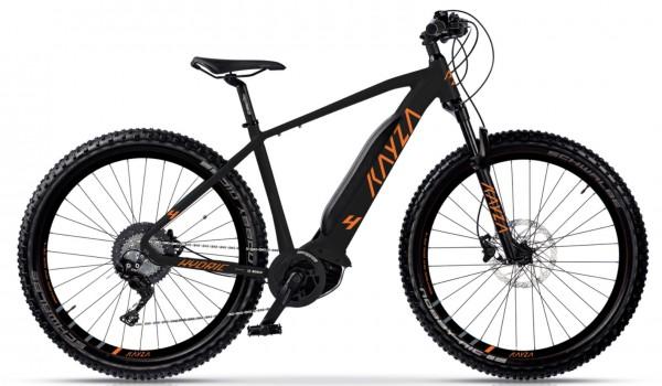 "KAYZA Elektro-MTB Hardtail ""Hydric 4"" Mod. 21, Hardtail, 27,5"", black matt / orange matt, 9-Gang SHIMANO ""Altus"", 56cm"